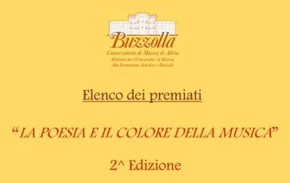 """Elenco dei Premiati – Concorso """"LA POESIA E IL COLORE DELLA MUSICA"""""""