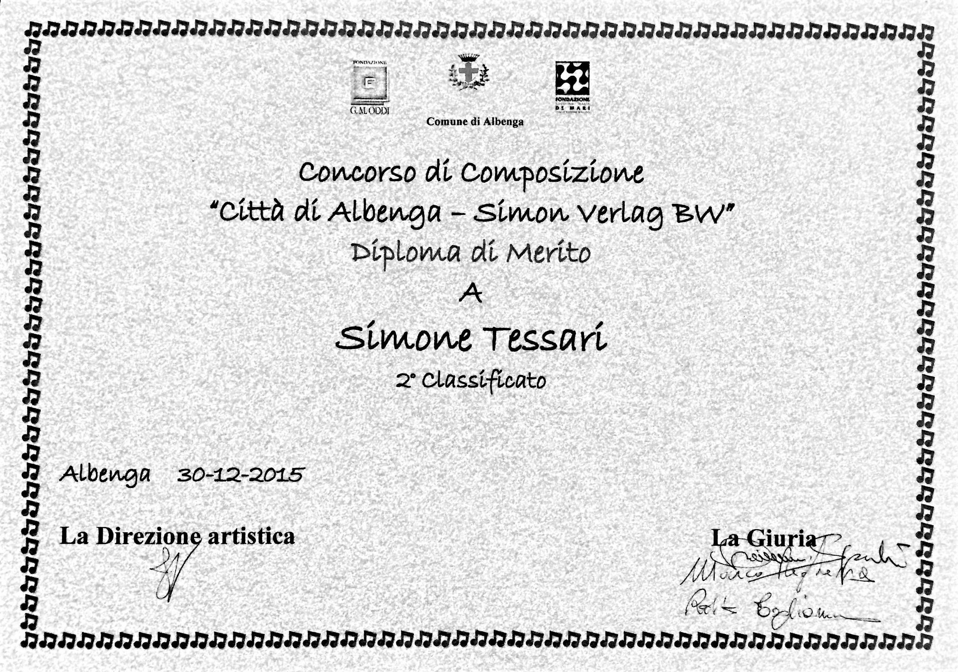 """Simone Tessari, 2° Premio Concorso Internazionale di Composizione """"Città di Albenga"""" 2015"""