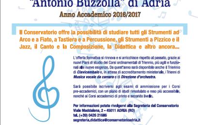 """Nuove Iscrizioni ai Corsi del Conservatorio """"A. Buzzolla"""" a.a. 2016 – 2017"""