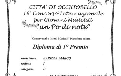 """Marco Barizza, 1° Premio Concorso Internazionale per Giovani Musicisti """"un Po' di note"""" – Occhiobello (RO)"""
