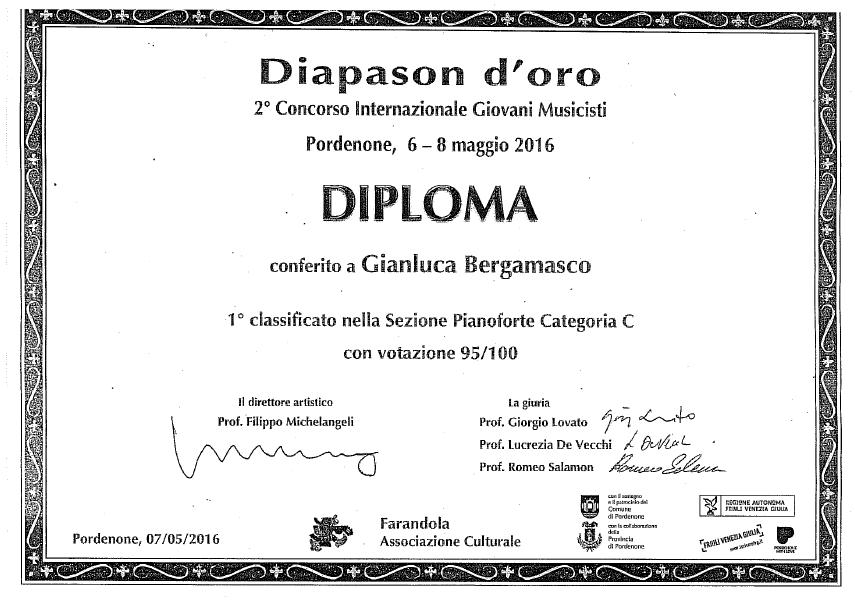 """Gianluca Bergamasco, 1° Premio Concorso Internazionale """"Diapason d'oro"""" – Pordenone"""