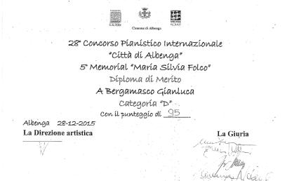 """Gianluca Bergamasco, Diploma di Merito 28° Concorso Pianistico Internazionale """"Città di Albenga""""/ 5° Memorial """"Maria Silvia Folco"""""""
