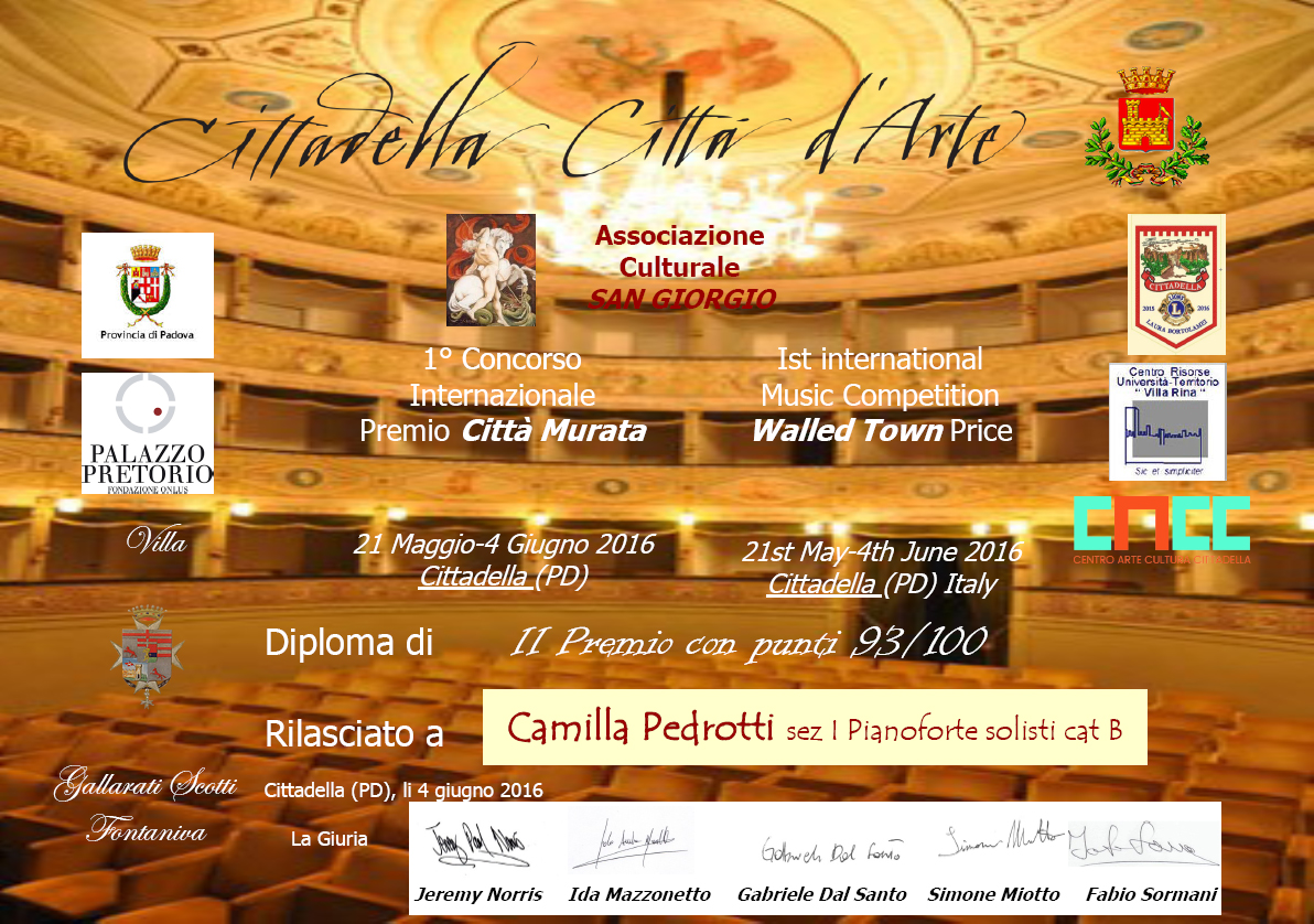 Camilla Pedrotti, 2° Premio Concorso Internazionale Premio Città Murata – Cittadella (PD)