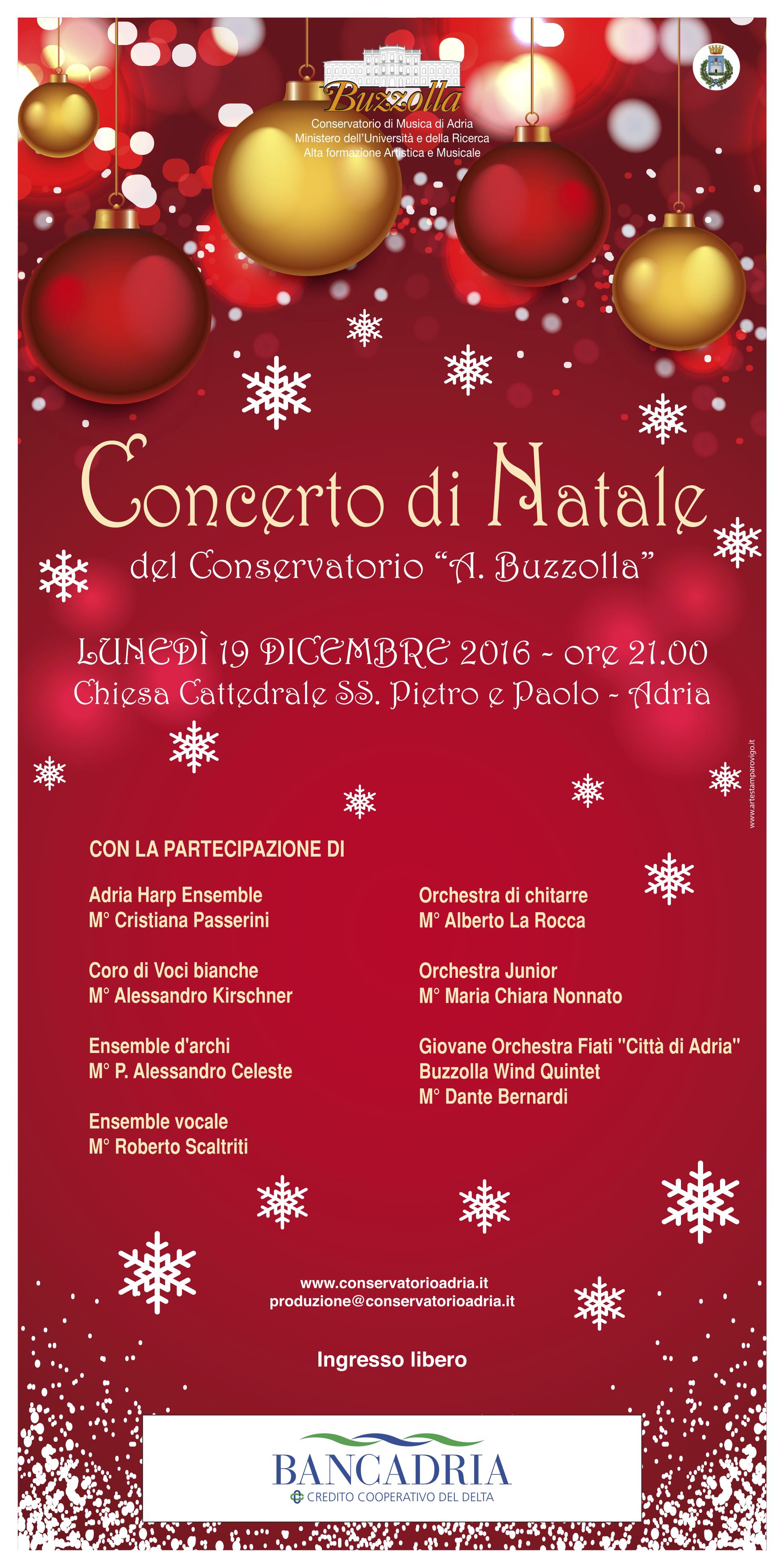 Concerto di Natale 2016, 19 Dicembre ore 21.00