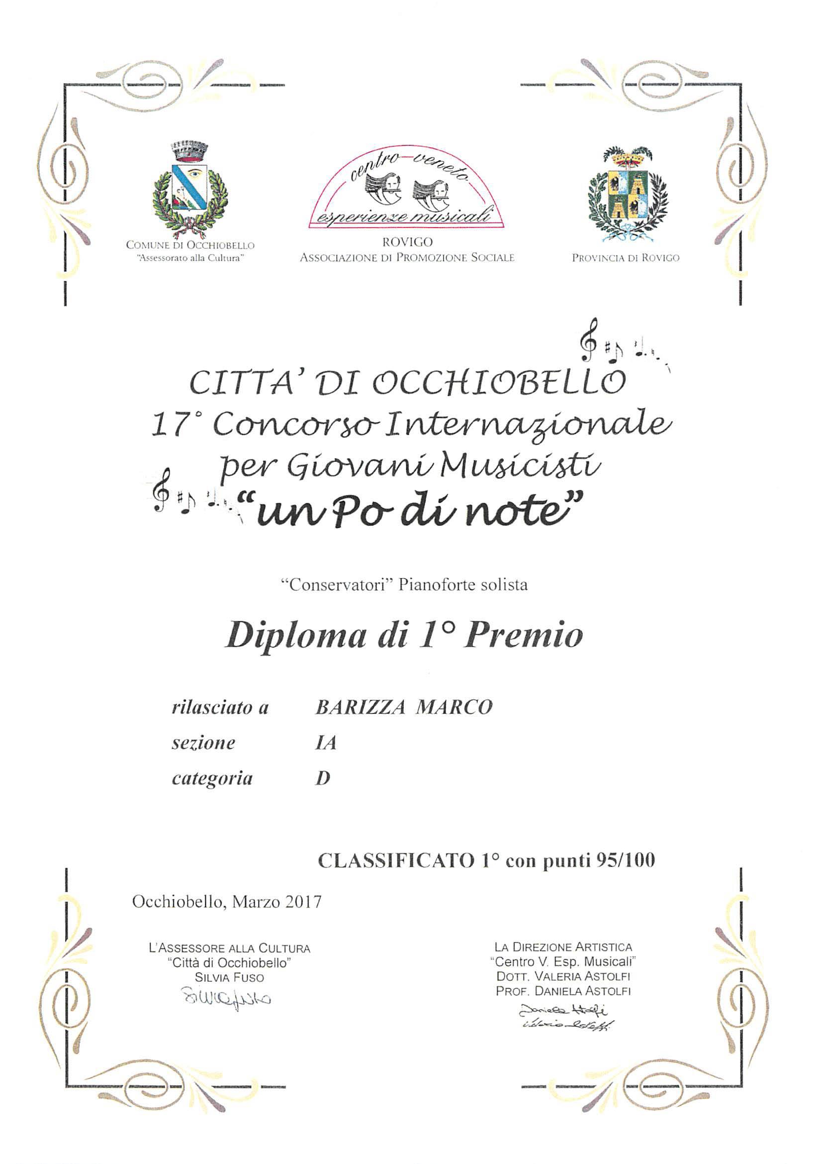 """Marco Barizza, 1° premio 17° Concorso Internazionale per Giovani Musicisti """"un Po di note"""" – Città di Occhiobello, marzo 2017"""