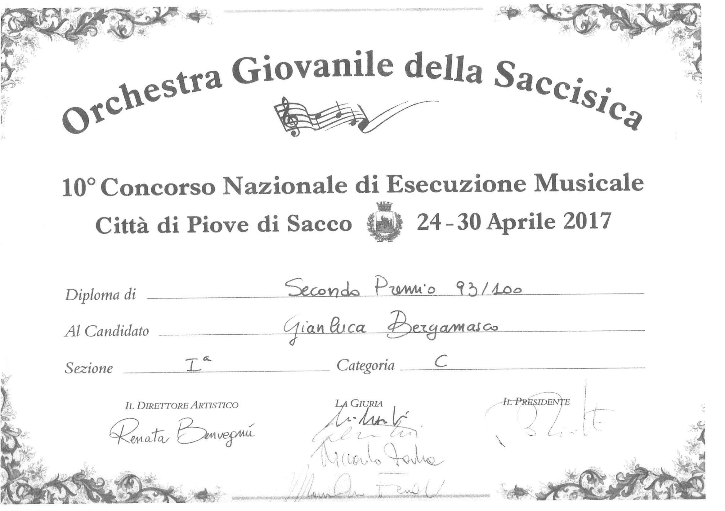 Gianluca Bergamasco – 2° Premio Concorso Nazionale di Esecuzione Musicale Città di Piove di Sacco – aprile 2017