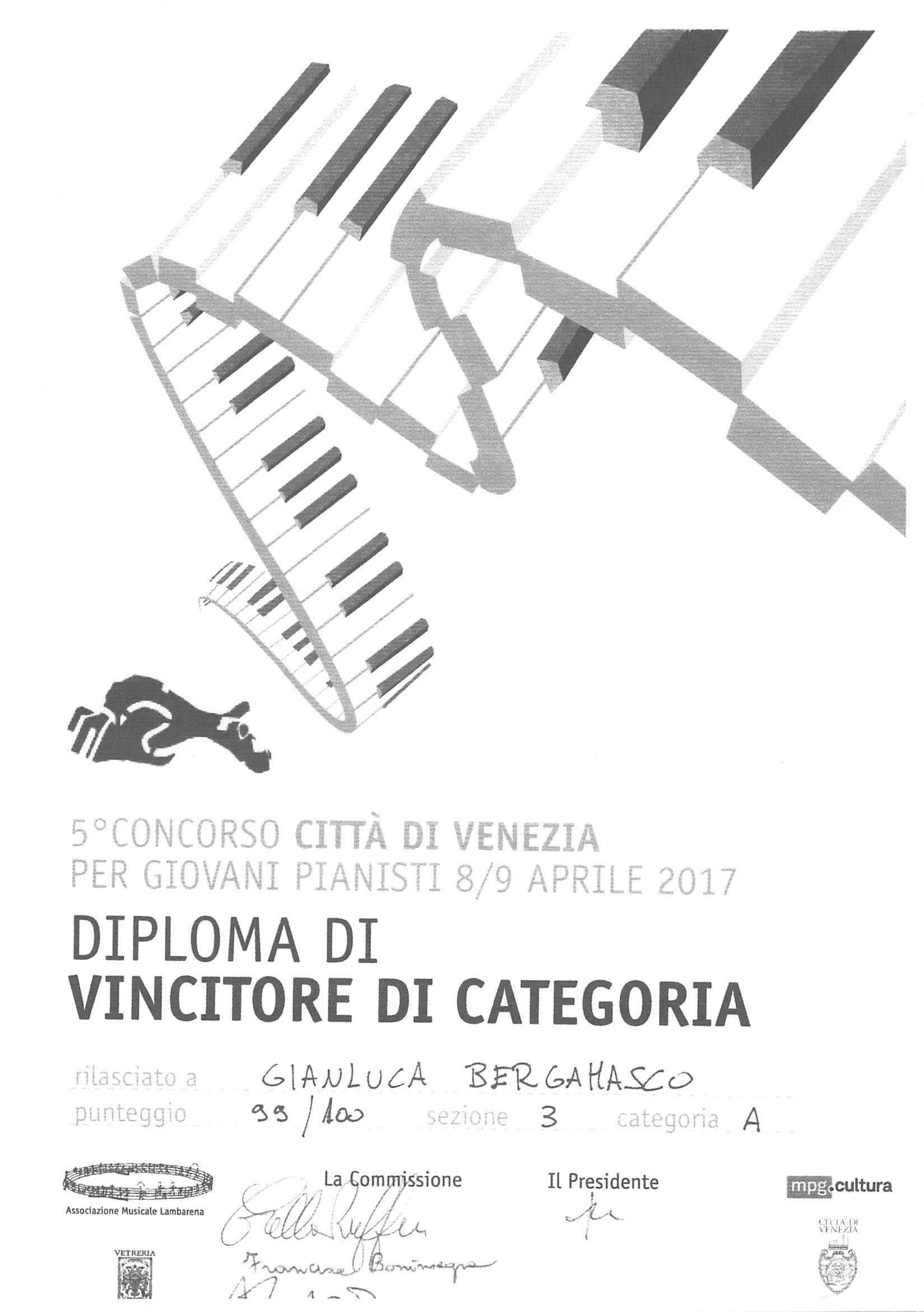 Gianluca Bergamasco – Diploma di vincitore di categoria – 5° concorso Città di Venezia
