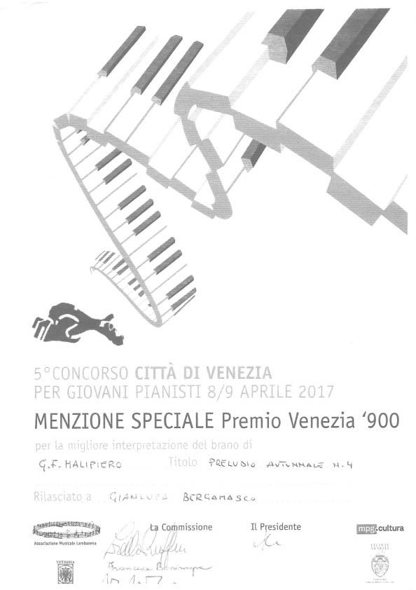 Gianluca Bergamasco – Menzione Speciale Premio Venezia '900 – 5° Concorso Città di Venezia
