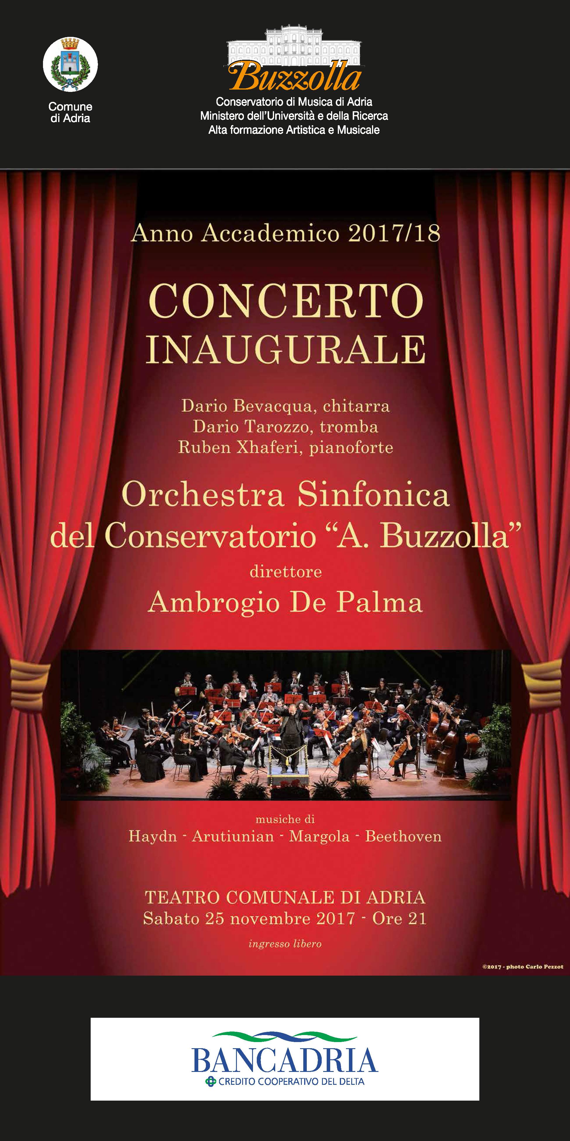 25 novembre 2017 ore 21.00 Concerto inaugurale a.a. 2017/2018  Teatro Comunale, Adria