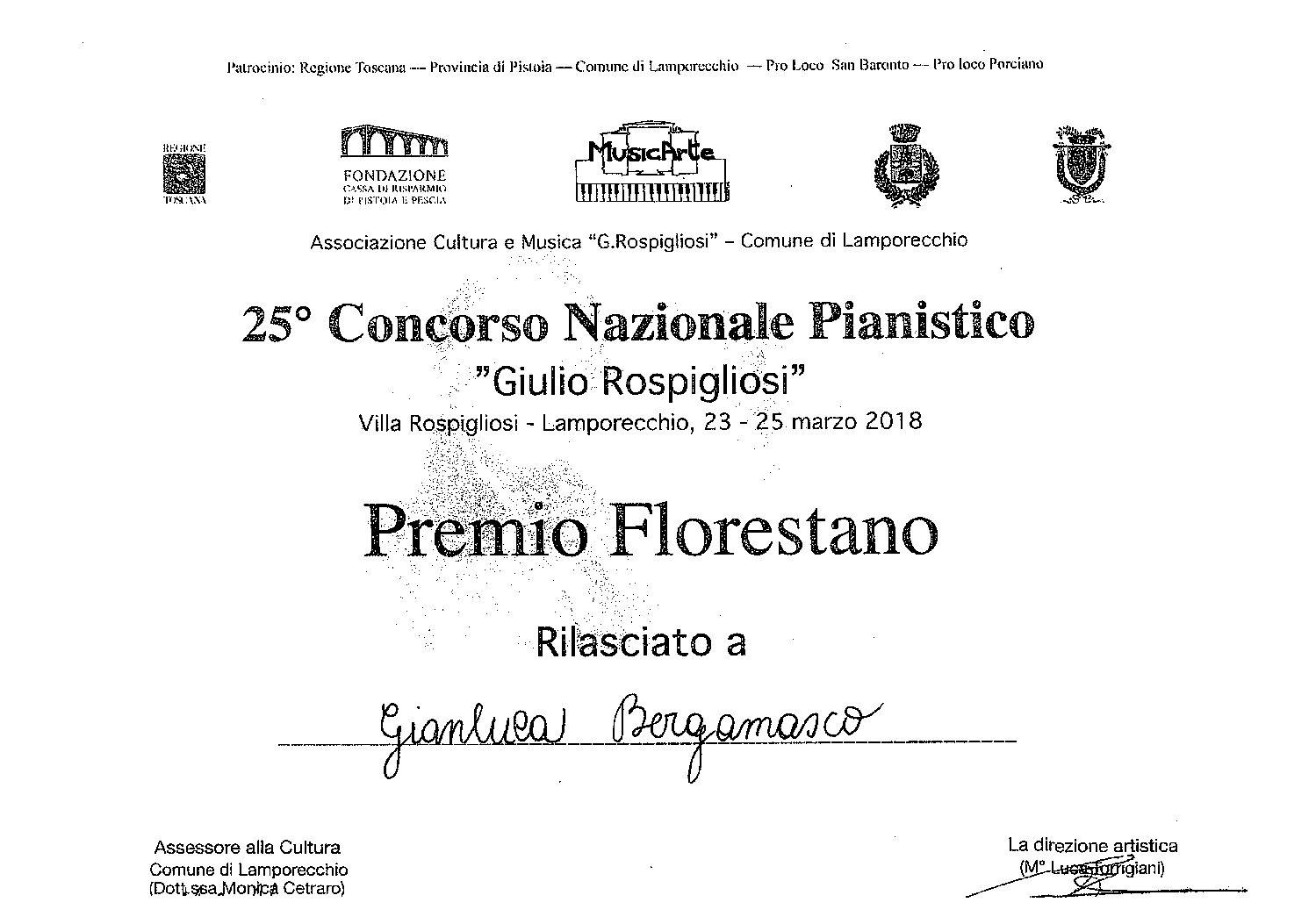 Gianluca Bergamasco – II premio 25° Concorso Nazionale Pianistico Giulio Rospigliosi