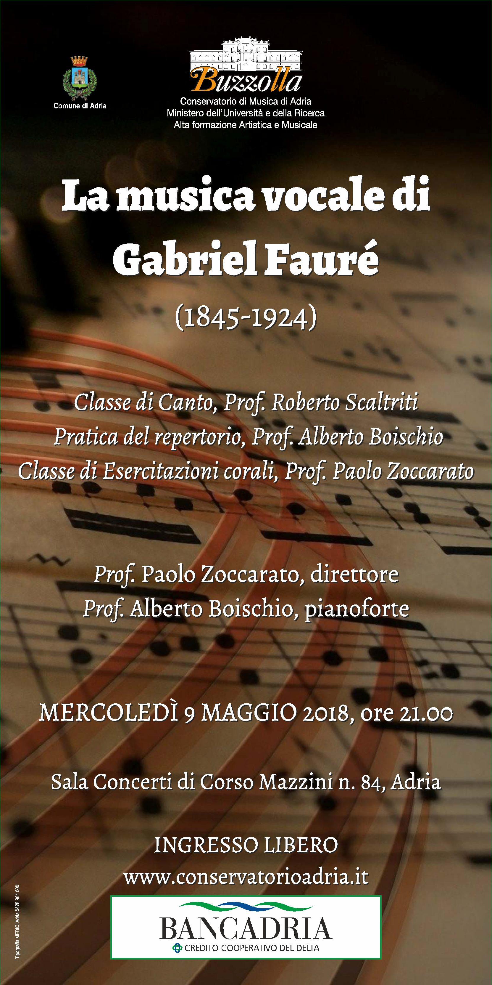 9 maggio 2018, ore 21.00 – Sala concerti di Corso Mazzini, Adria