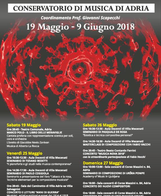 Festival Musica Nova 2018, 19 Maggio – 9 Giugno 2018,