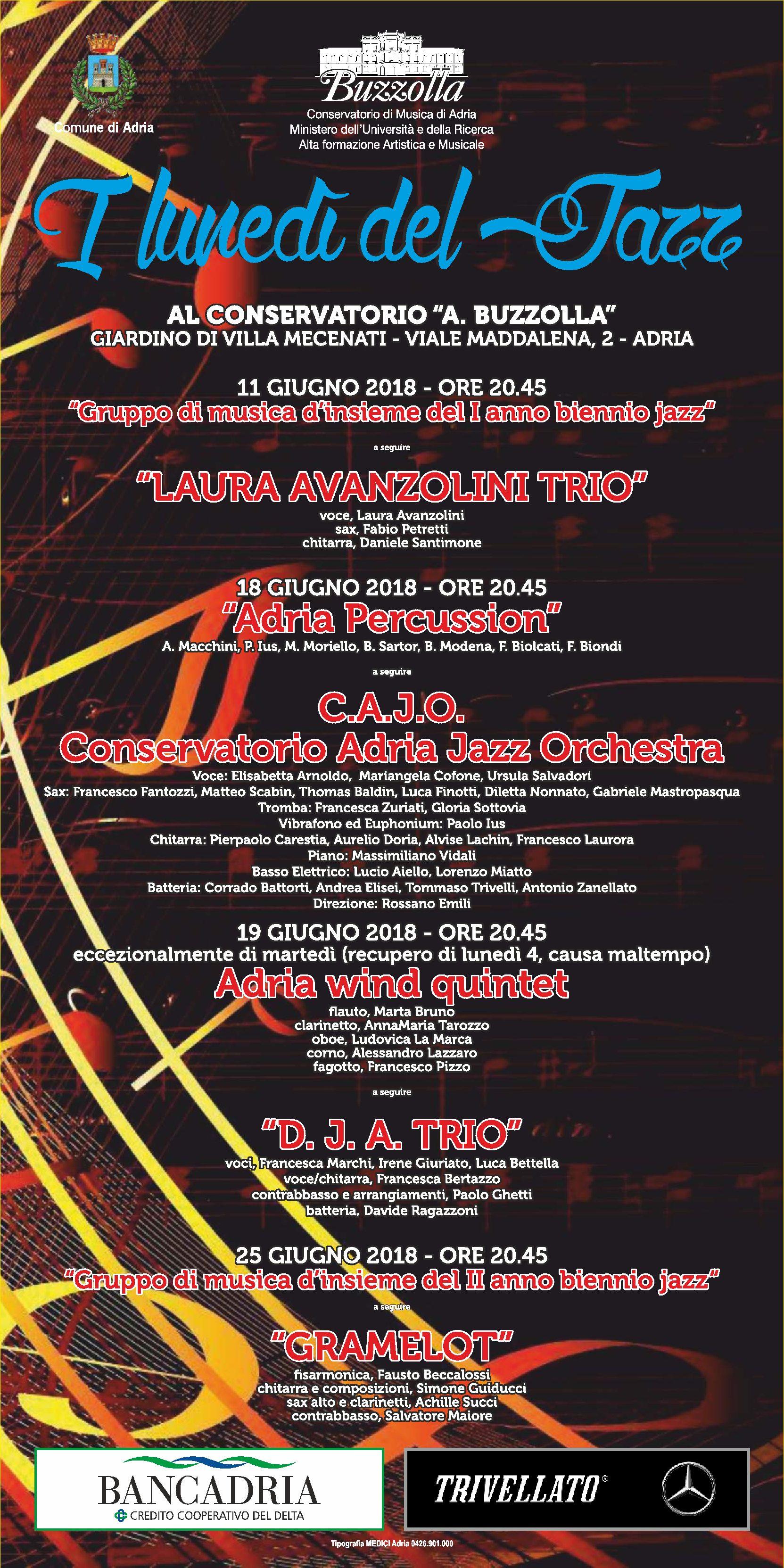 11-18-19-25 giugno 2018 – ore 20.45, I lunedì del Jazz – Giardino di Villa Mecenati – Adria