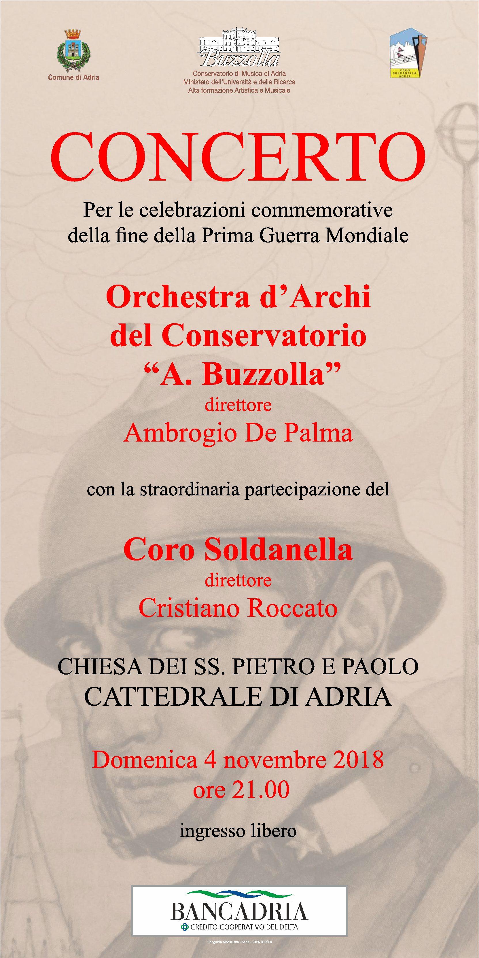 4 novembre 2018, ore 21.00 – Concerto per le celebrazioni commemorative della fine della Prima Guerra Mondiale