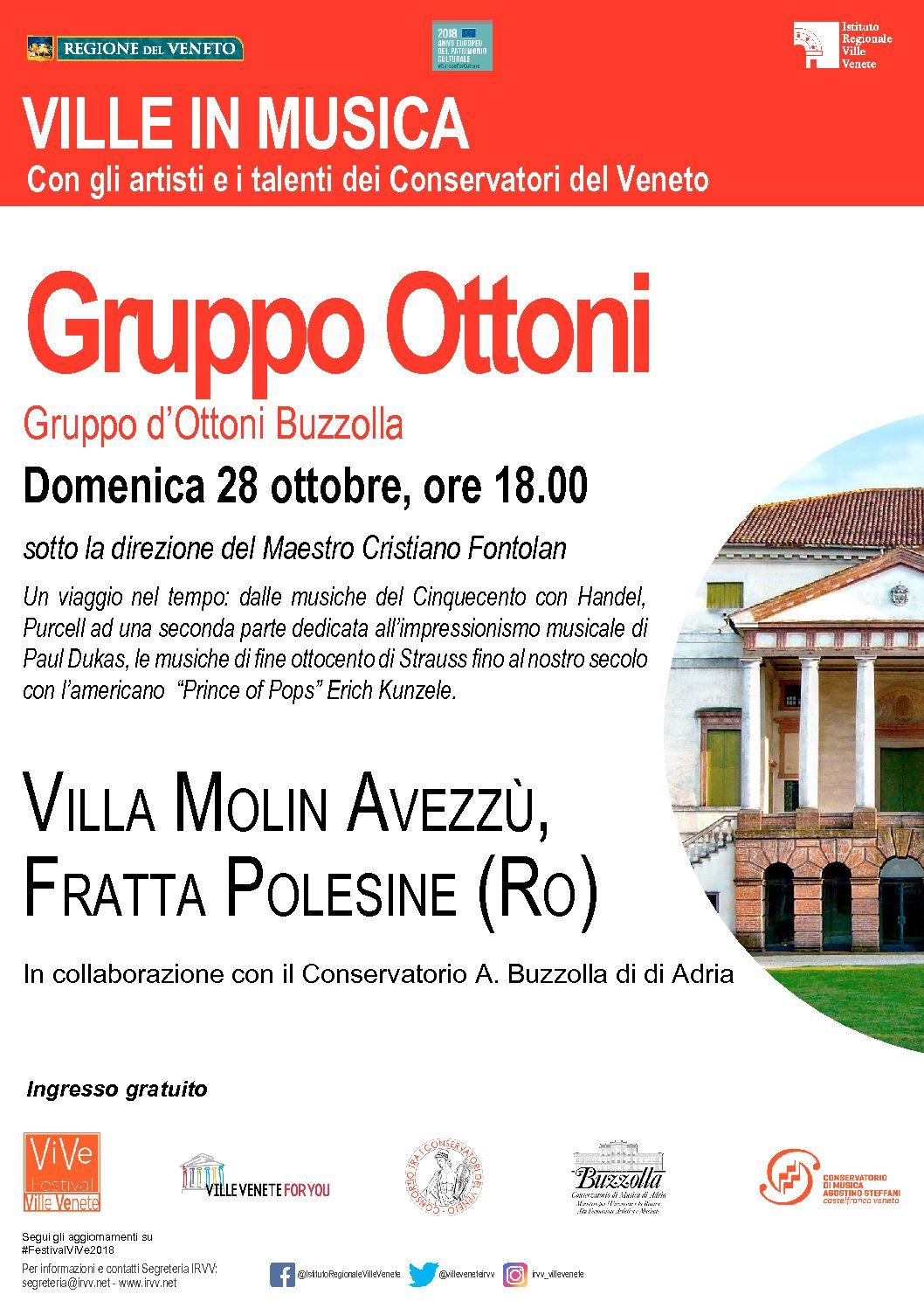 28 ottobre 2018 ore 18.00 – Ville Venete in musica – Gruppo d'Ottoni Buzzolla