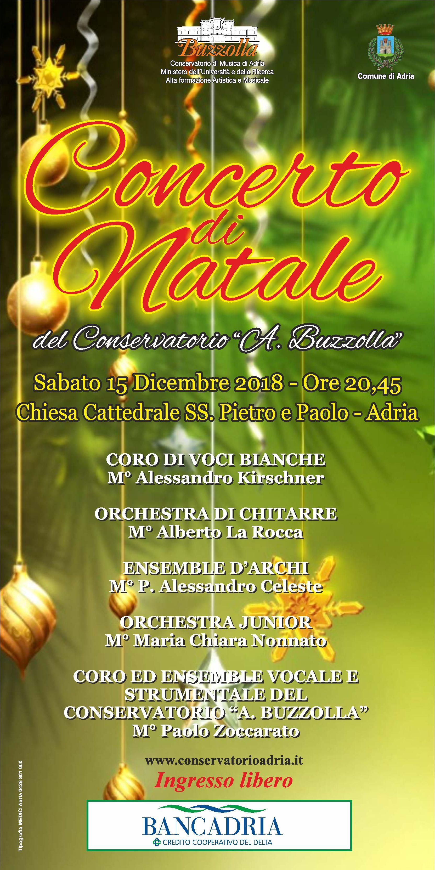 15 dicembre 2018, ore 20.45 Concerto di Natale, Chiesa Cattedrale dei SS. Pietro e Paolo – Adria