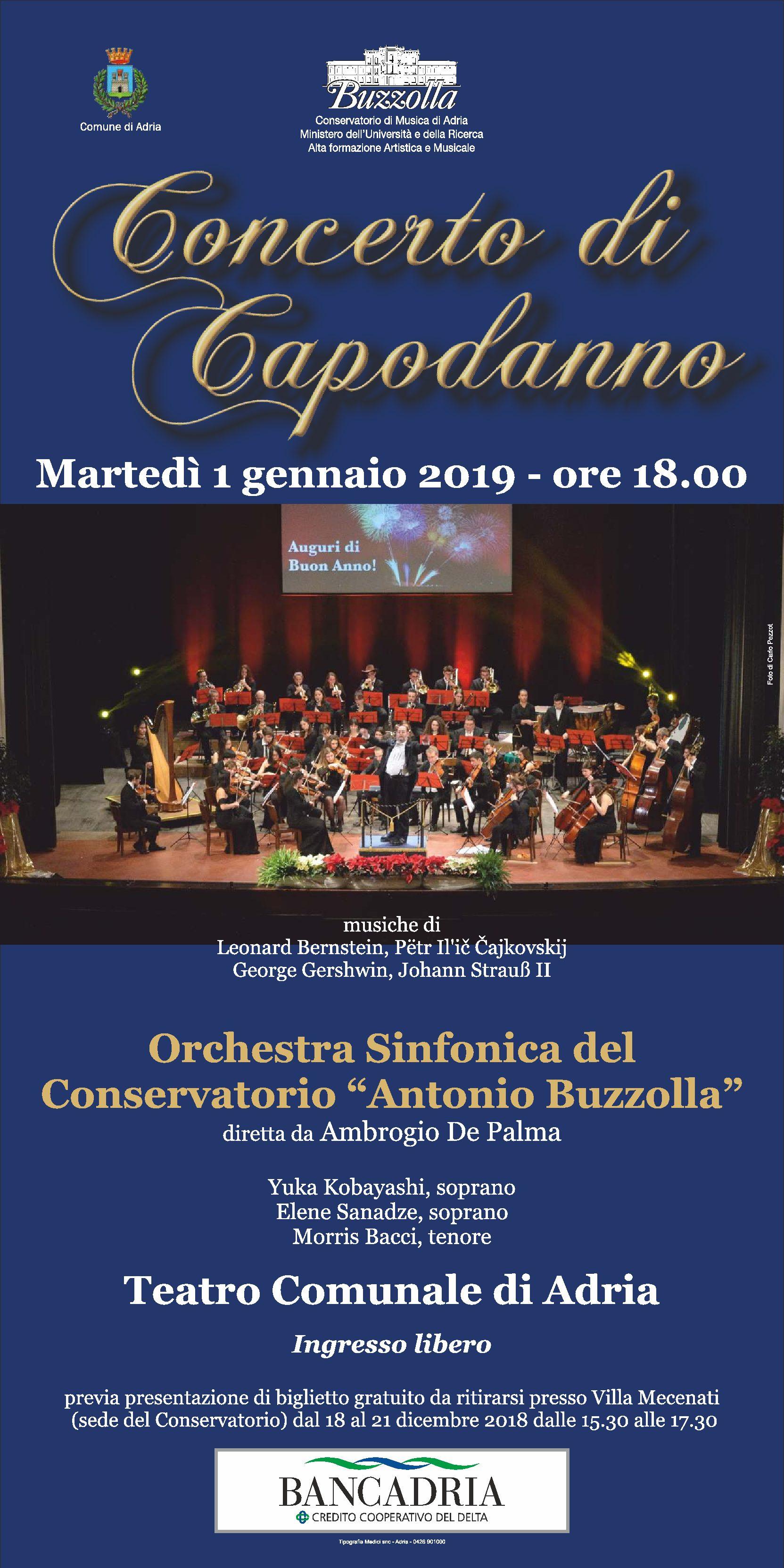 1 gennaio 2019, ore 18.00 – Concerto di Capodanno, Teatro Comunale di Adria