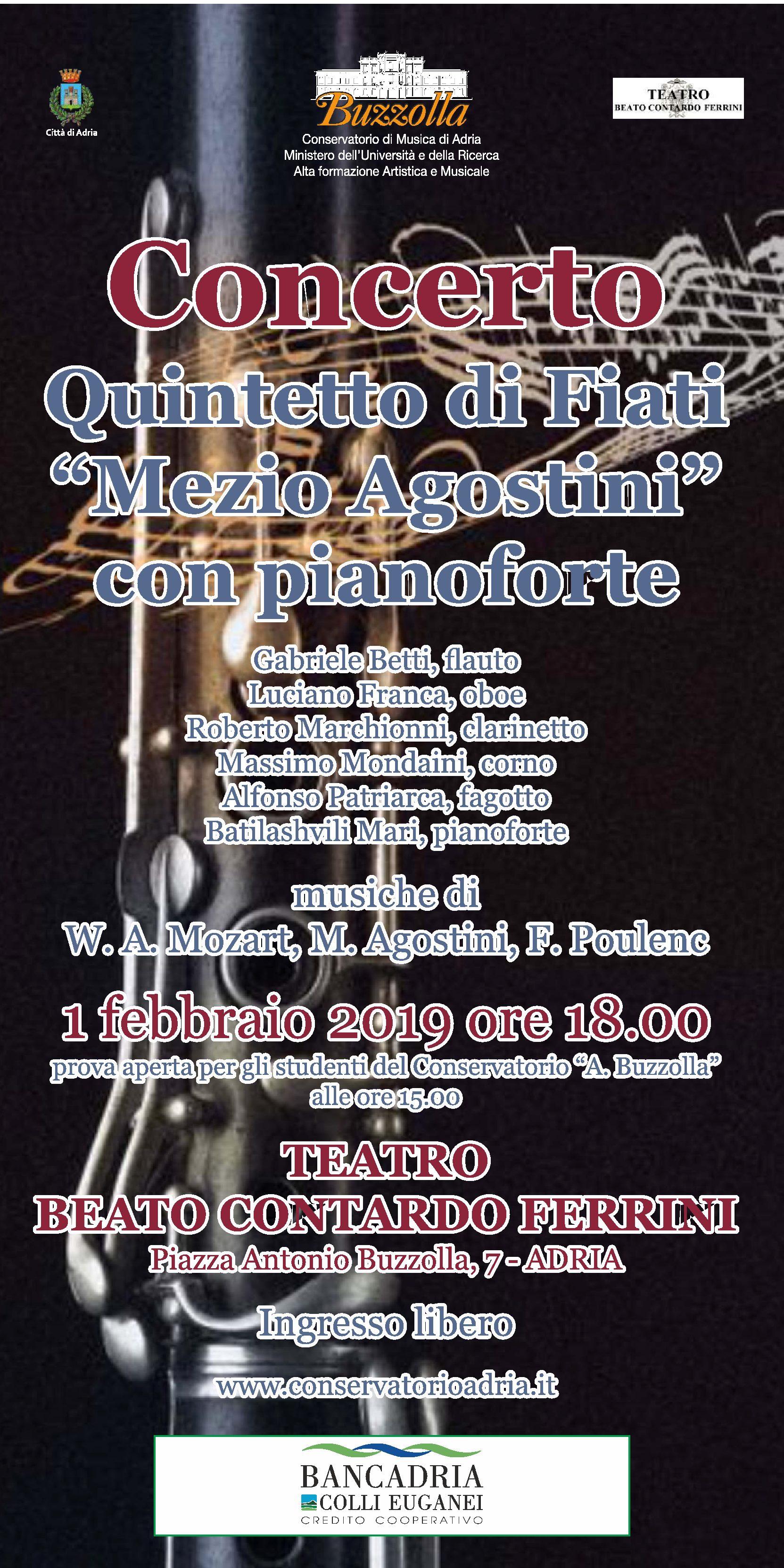 """1 febbraio 2019 – Concerto Quintetto di Fiati """"Mezio Agostini"""" con pianoforte"""