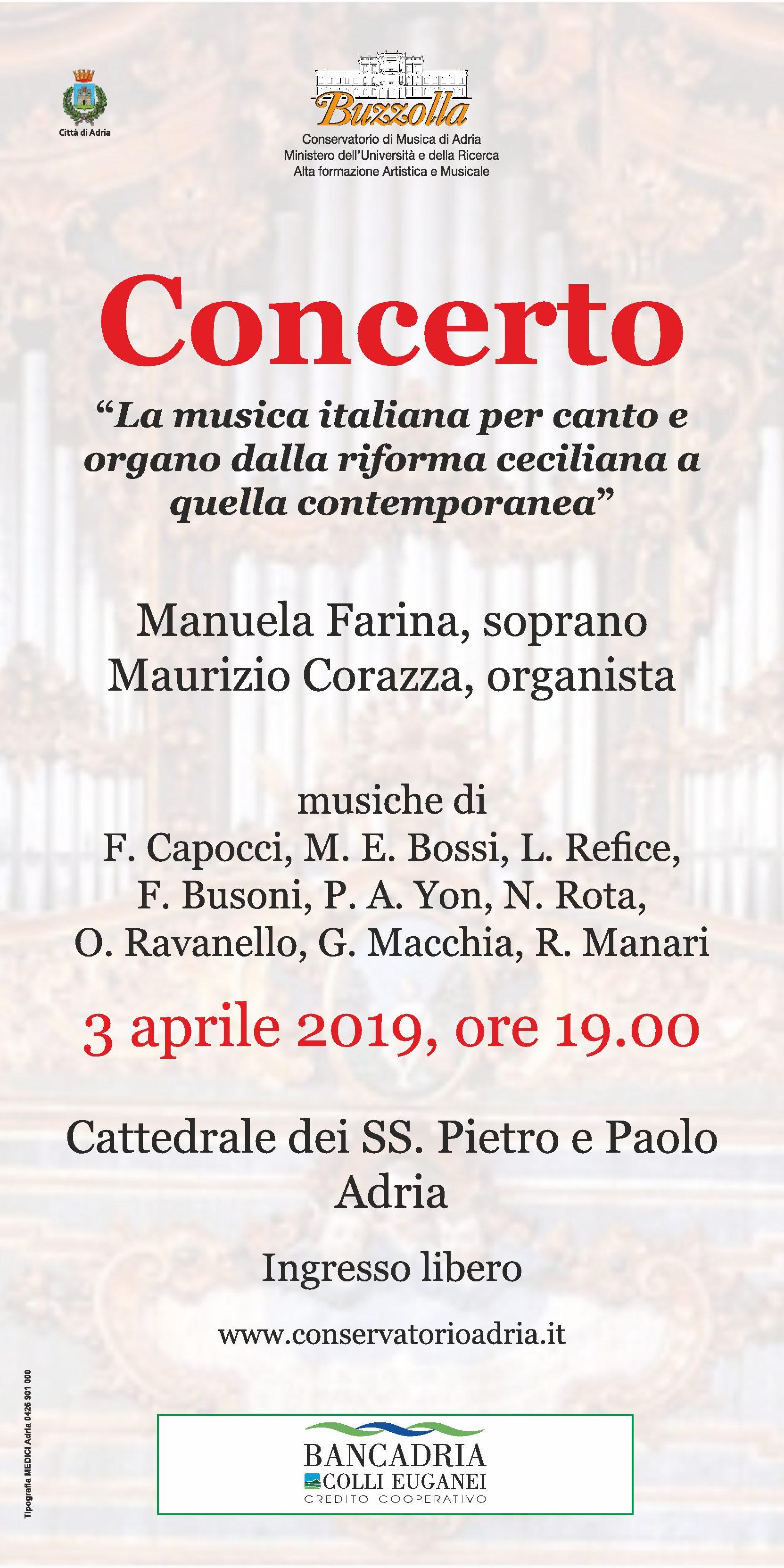 """3 aprile 2019 – ore 19.00, Concerto """"La musica italiana per canto e organo dalla riforma ceciliana a quella contemporanea"""""""