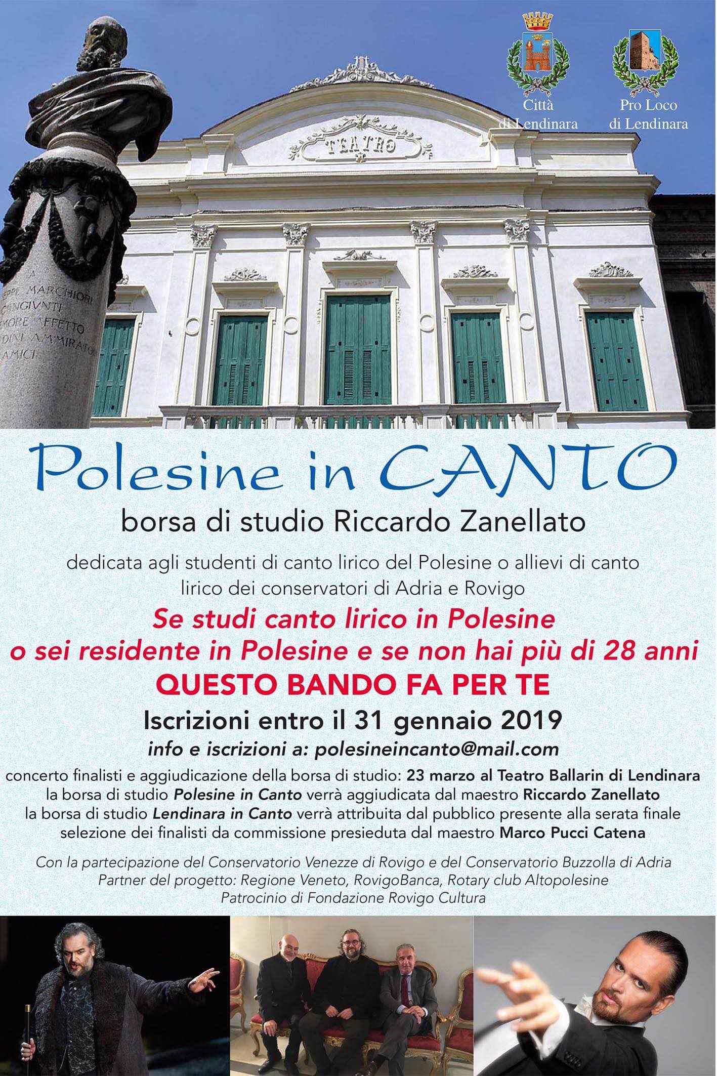 """Borsa di Studio Riccardo Zanellato """"Polesine in canto"""""""