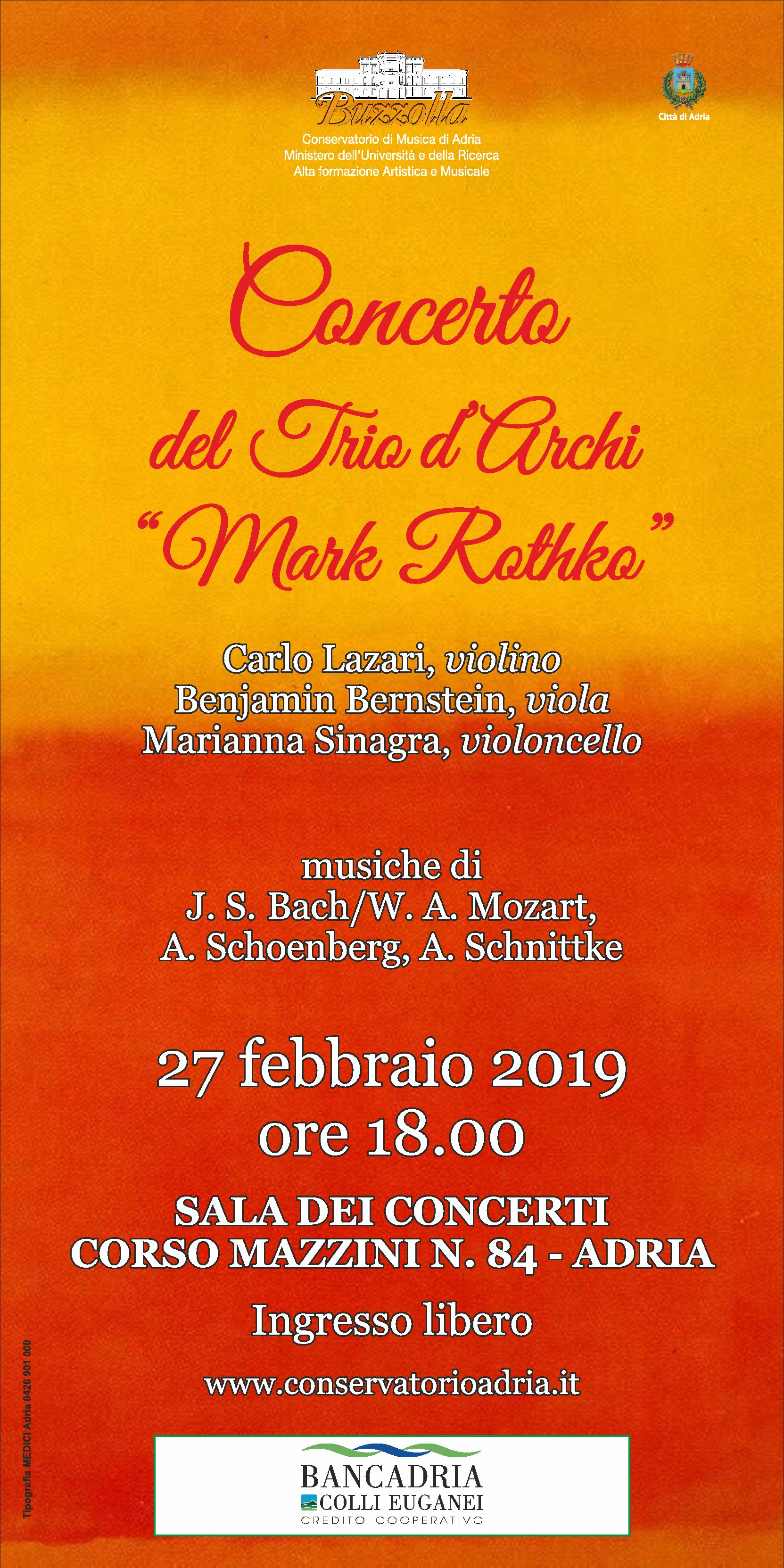 """27 febbraio 2019 – ore 18.00, Concerto del Trio d'Archi """"Mark Rothko"""""""