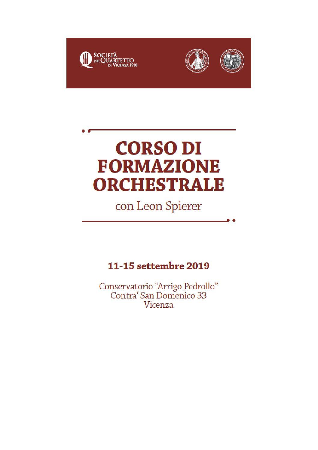 Corso di formazione orchestrale 2019 con L. Spierer