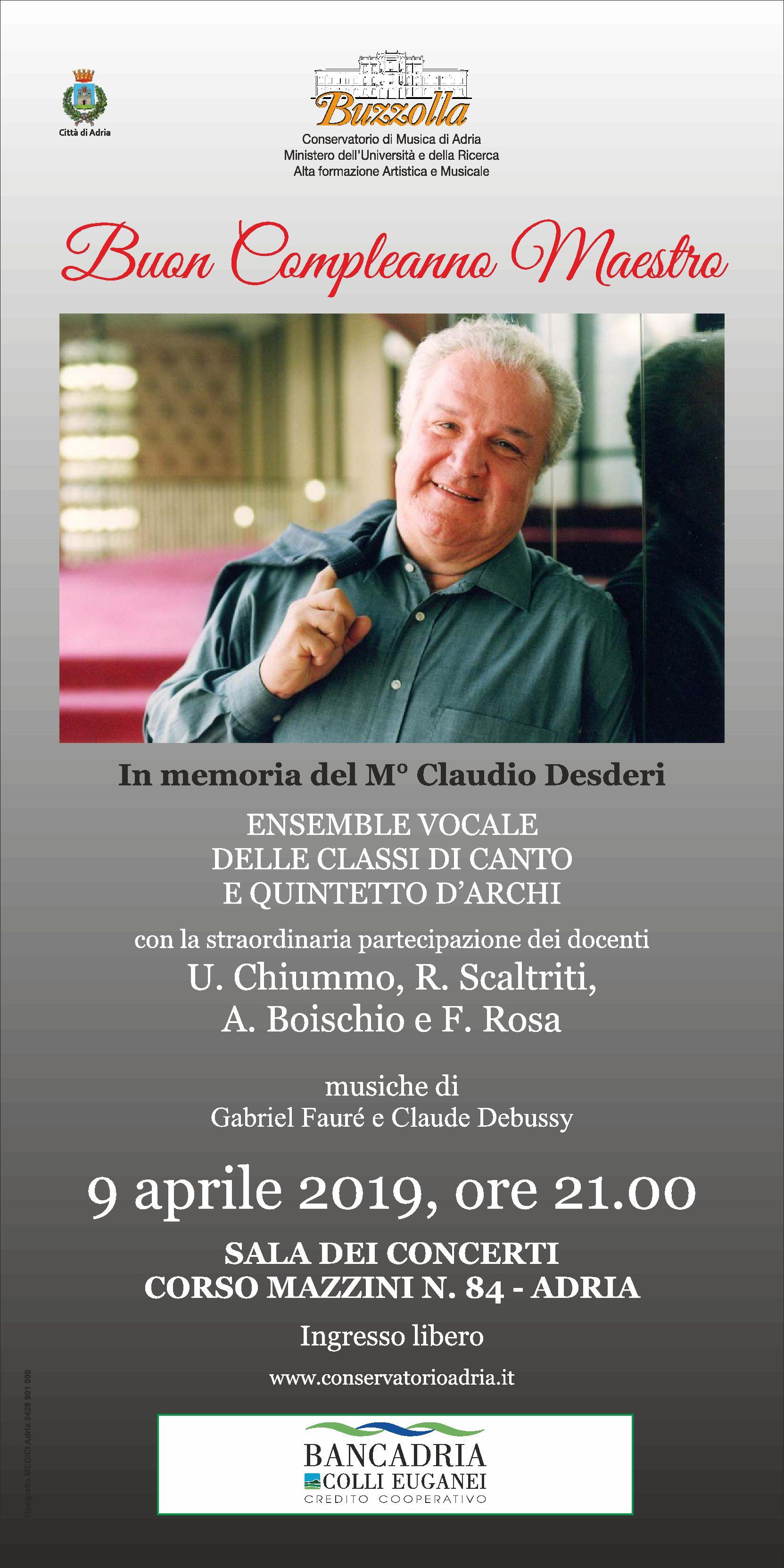"""Concerto """"Buon Compleanno Maestro"""" – 9 aprile 2019, ore 21.00"""