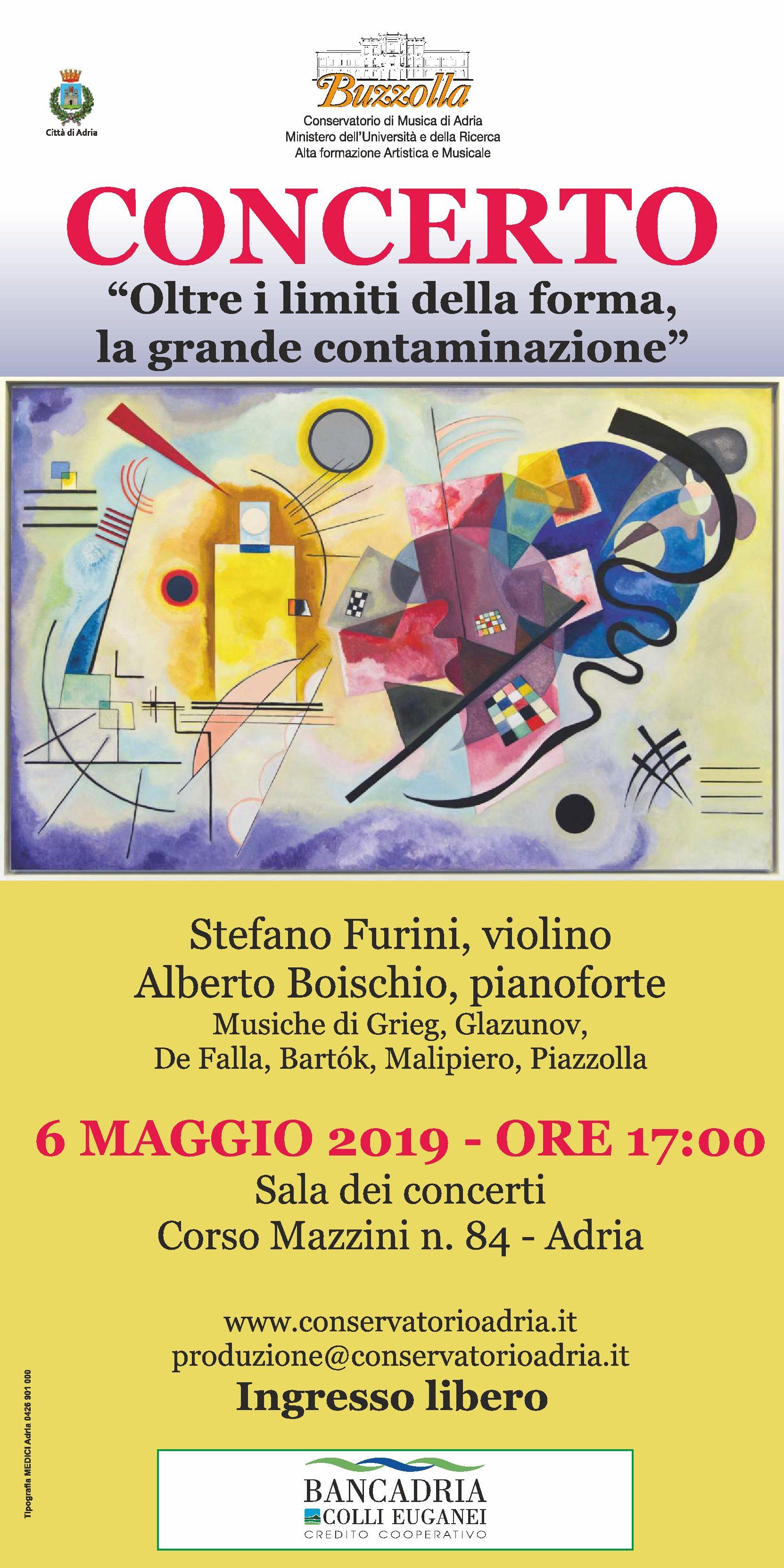 """6 maggio 2019 – ore 17.00 Concerto """"Oltre i limiti della forma, la grande contaminazione"""""""