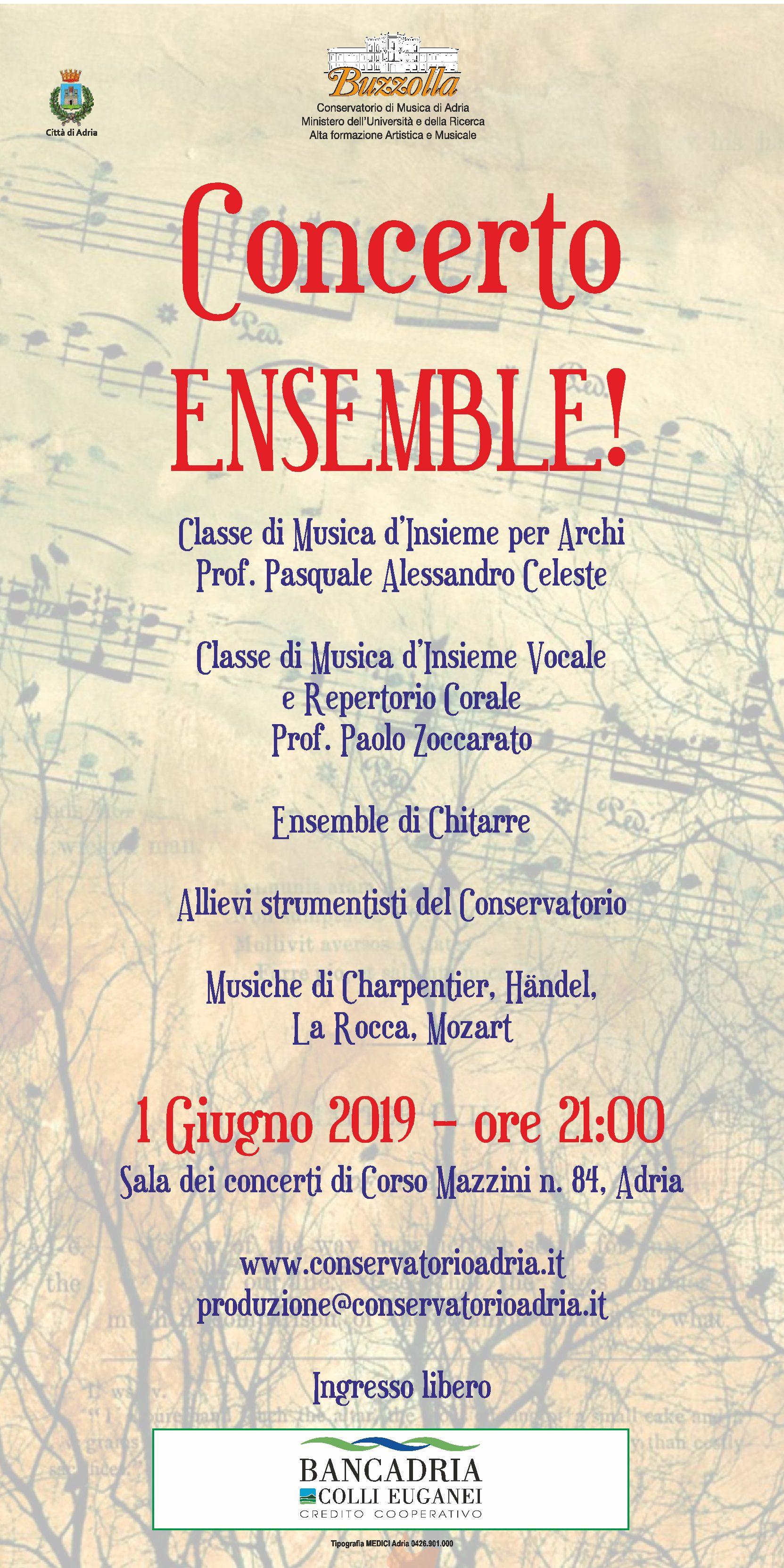 1 giugno 2019 ore 21.00 Concerto ENSEMBLE!