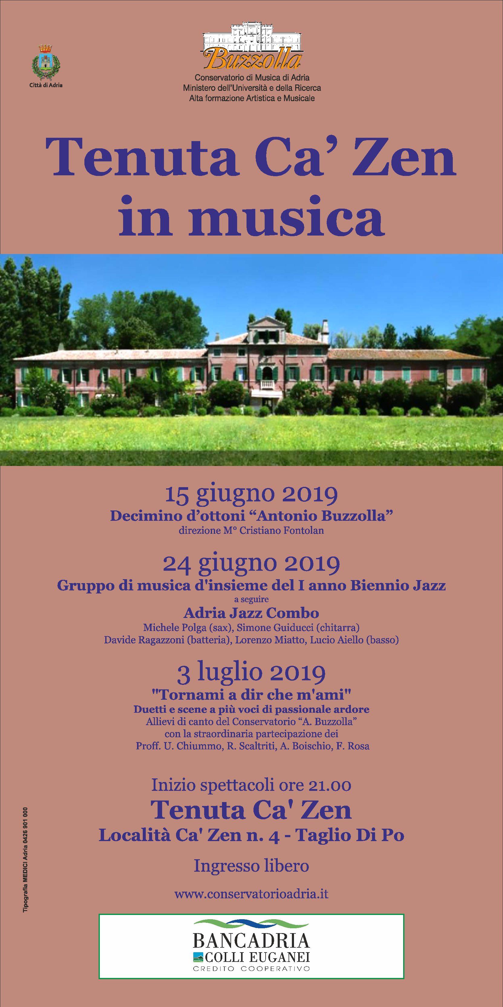 15 e 24 giugno e 3 luglio 2019 – Tenuta Ca' Zen in musica