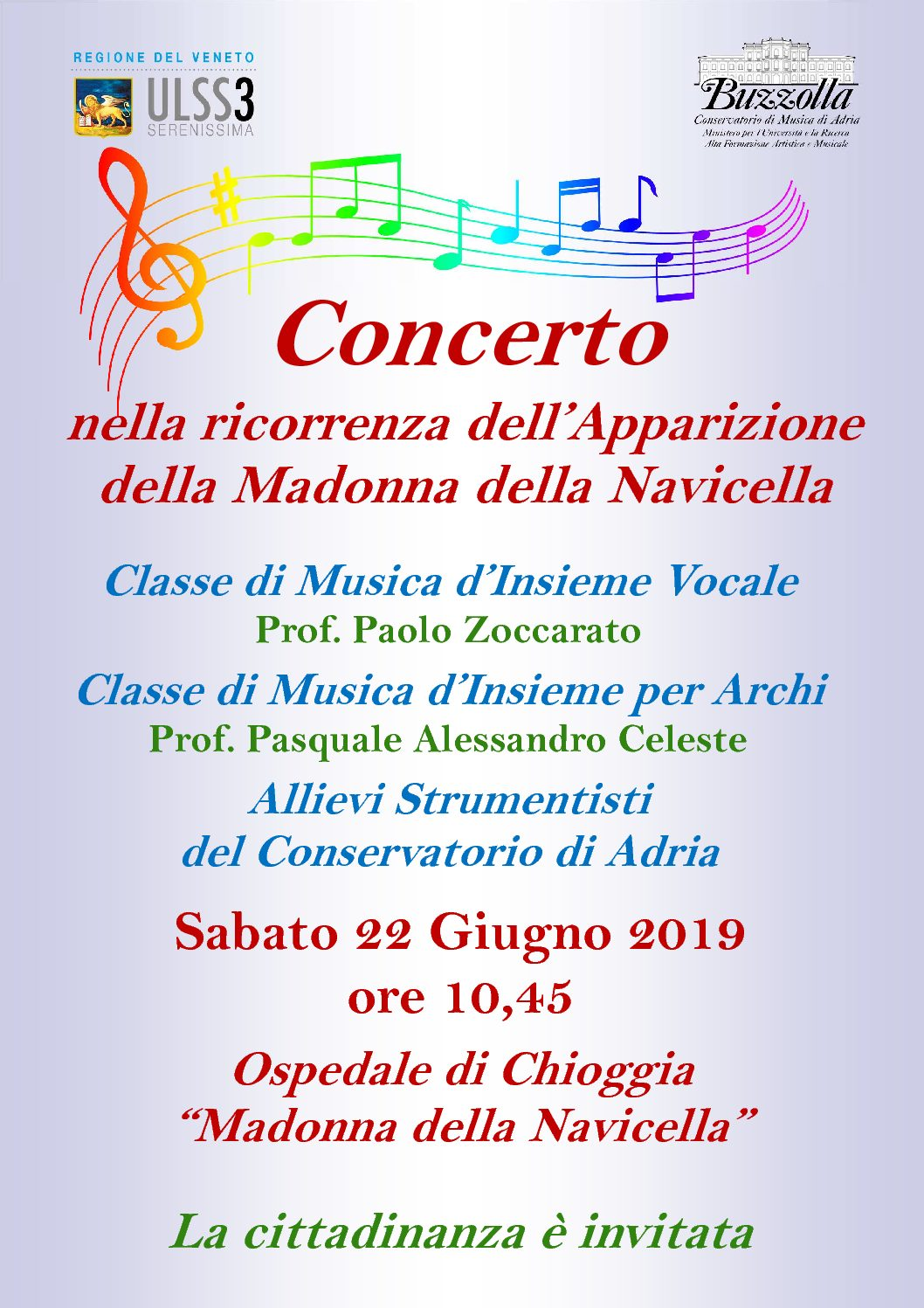22 giugno 2019, ore 10.45 – Chioggia – Concerto nella ricorrenza dell'Apparizione della Madonna della Navicella
