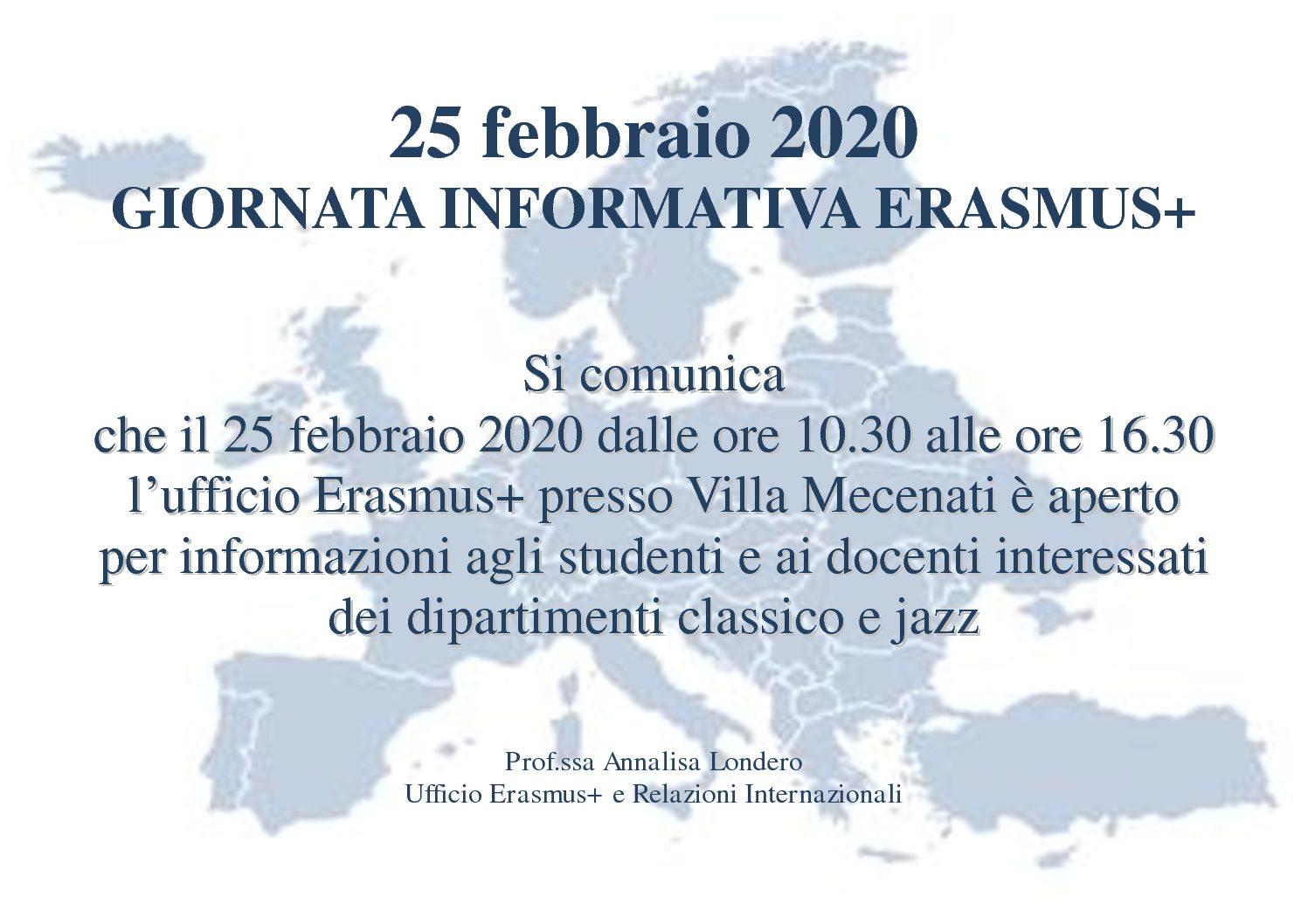 25 febbraio 2020 – Giornata informativa Erasmus+