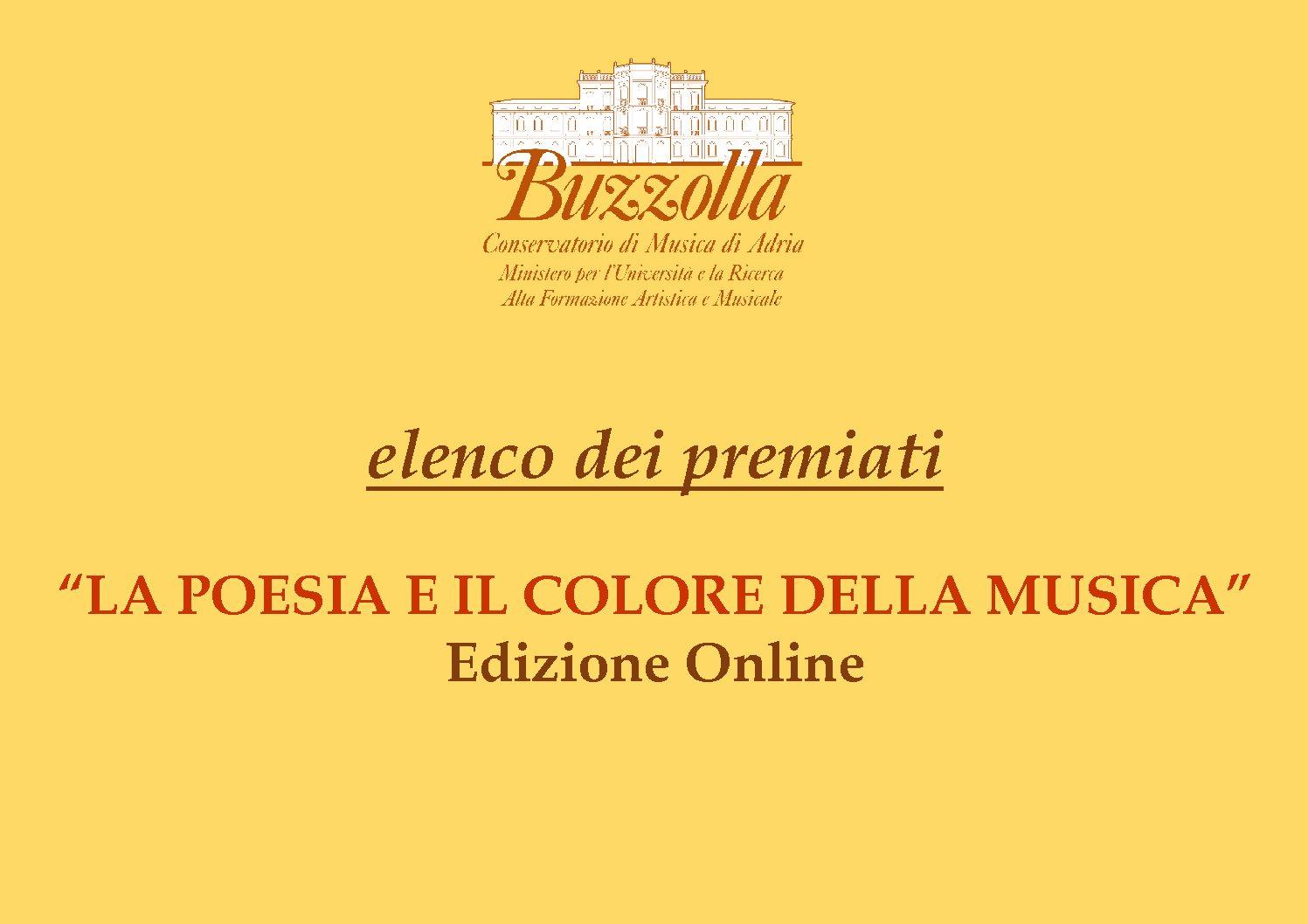 """Elenco dei Premiati, Concorso """"La Poesia e il Colore della Musica"""""""