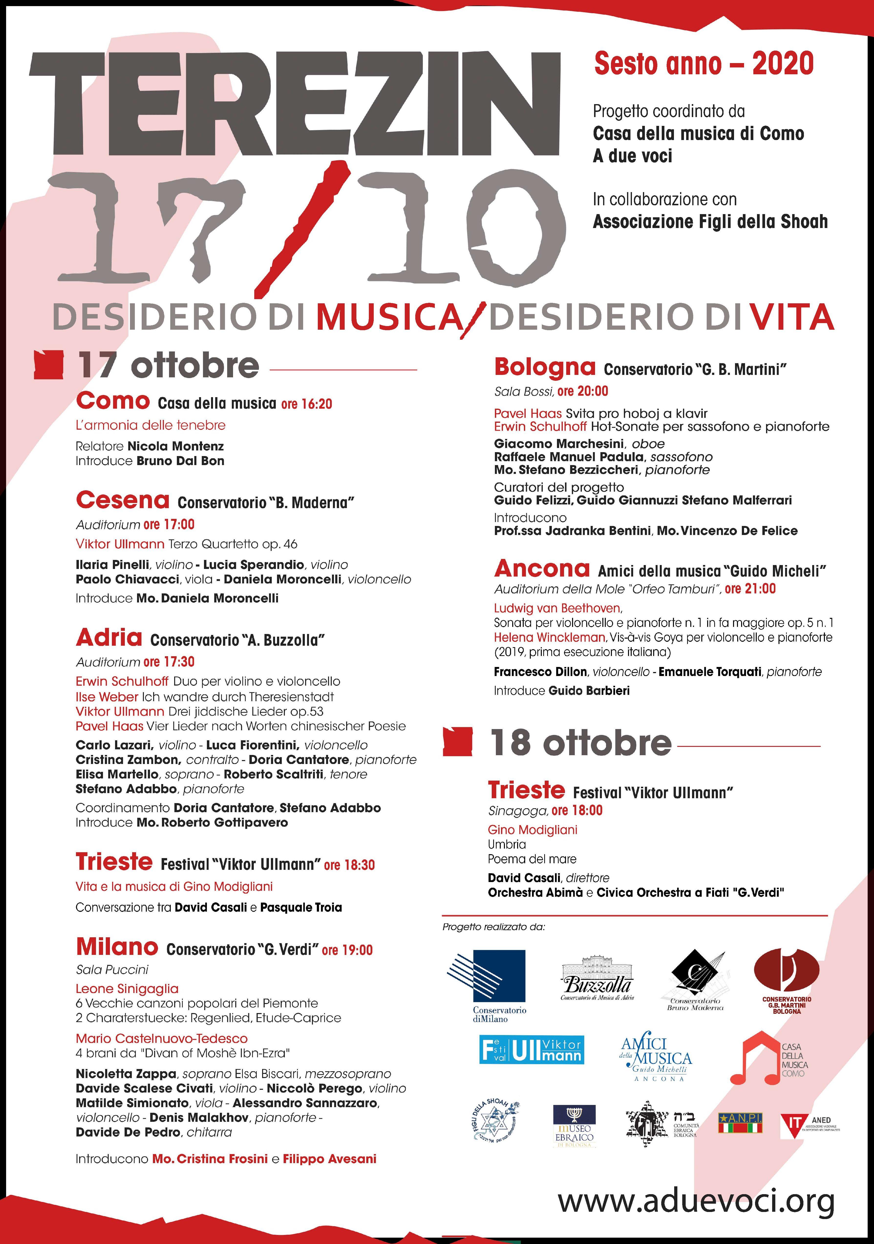 17 ottobre 2020 – Concerto per Terezin – Auditorium del Conservatorio