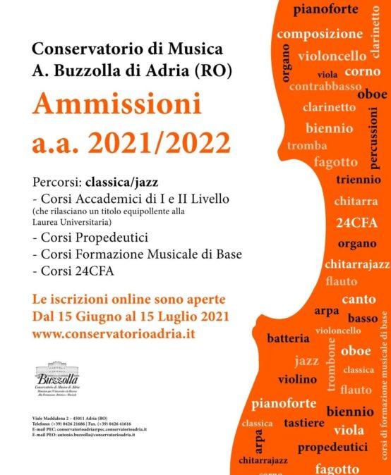 Ammissioni, anno accademico 2021/2022