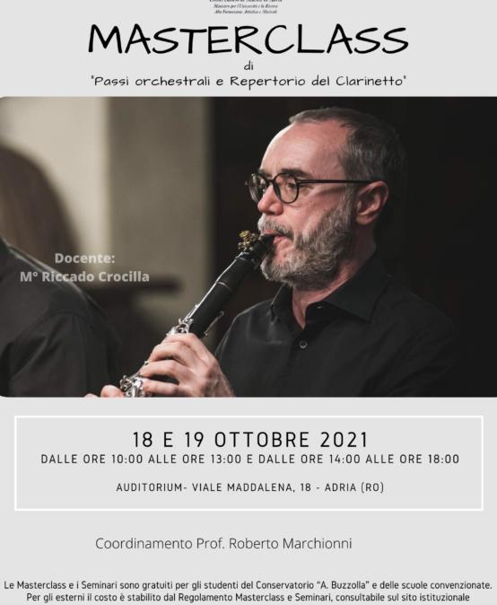 """Masterclass – di """"Passi orchestrali e Repertorio del Clarinetto"""""""